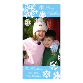 Multiple Snowflakes Christmas Photocard Light Blue Custom Photo Card