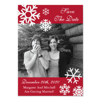 Multiple Snowflakes Photo Save The Dates Burgandy Card