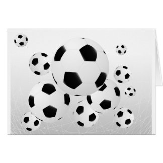Multiple Soccer Balls Greeting Cards