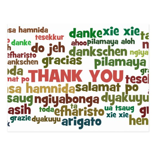 Multiple Ways to Say Thank You in Many Languages Post Card