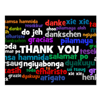 Multiple Ways to Say Thank You in Many Languages Postcard