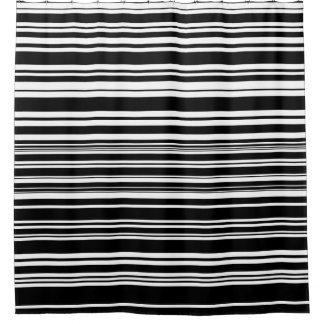 Multitudes of Uneven Black and White Stripes Shower Curtain