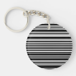 Multitudes of Uneven Black and White Stripes Single-Sided Round Acrylic Key Ring