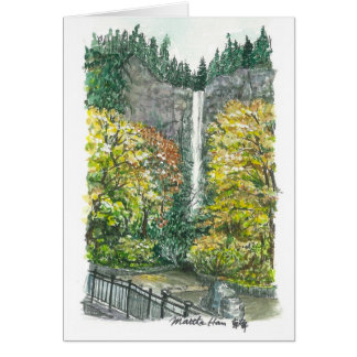Multnomah Fall in Fall Card