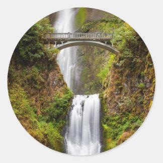 Multnomah Falls Along The Columbia River Gorge 2 Round Sticker
