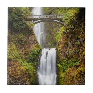 Multnomah Falls Along The Columbia River Gorge 2 Small Square Tile