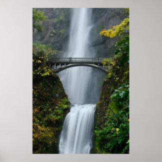 Multnomah Falls in Fall Poster