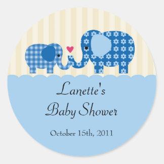 Mum and Baby Boy Elephant Favour Sticker