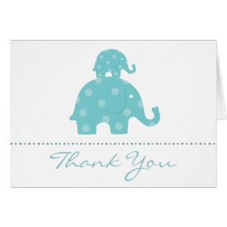 Mum and Baby Elephant Boy Folded Thank You Card
