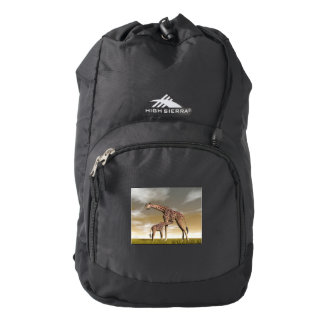 Mum and baby giraffe - 3D render Backpack