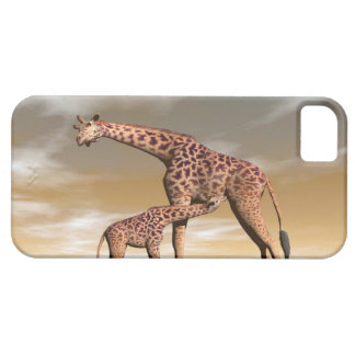 Mum and baby giraffe - 3D render Barely There iPhone 5 Case