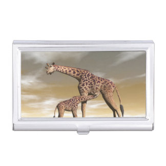 Mum and baby giraffe - 3D render Business Card Holder