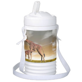 Mum and baby giraffe - 3D render Cooler