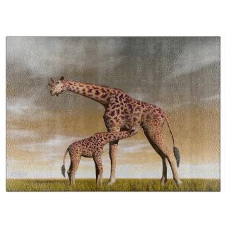 Mum and baby giraffe - 3D render Cutting Board