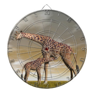 Mum and baby giraffe - 3D render Dartboard