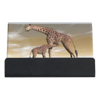 Mum and baby giraffe - 3D render Desk Business Card Holder
