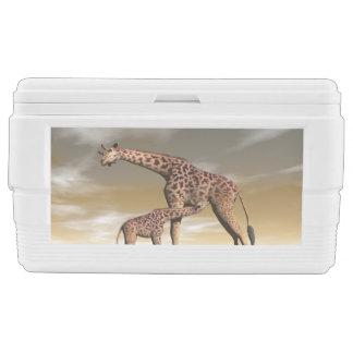 Mum and baby giraffe - 3D render Ice Chest