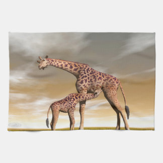 Mum and baby giraffe - 3D render Kitchen Towel