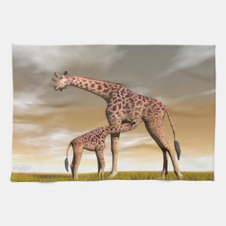 Mum and baby giraffe - 3D render Kitchen Towels