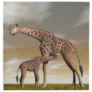 Mum and baby giraffe - 3D render Napkin