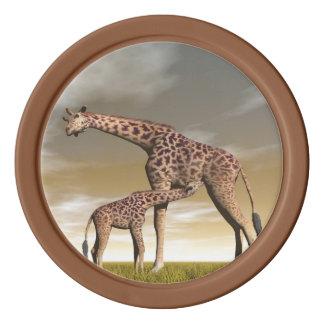 Mum and baby giraffe - 3D render Poker Chips