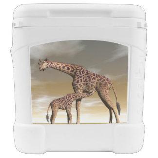 Mum and baby giraffe - 3D render Rolling Cooler