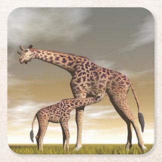Mum and baby giraffe - 3D render Square Paper Coaster