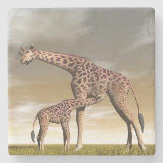 Mum and baby giraffe - 3D render Stone Coaster