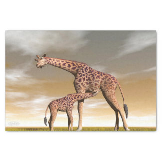 Mum and baby giraffe - 3D render Tissue Paper
