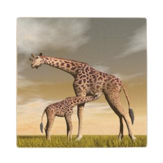 Mum and baby giraffe - 3D render Wood Coaster