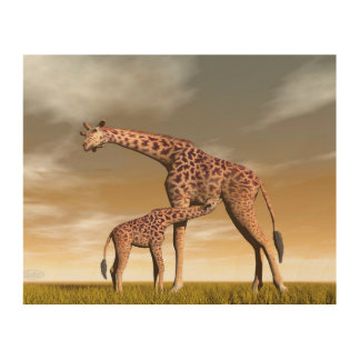 Mum and baby giraffe - 3D render Wood Print