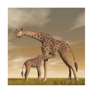 Mum and baby giraffe - 3D render Wood Wall Art