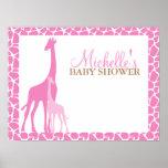 Mum and Baby Giraffe Baby Shower Welcome Sign Poster