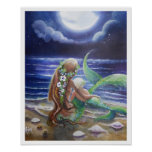 Mum and Baby mermaids Poster