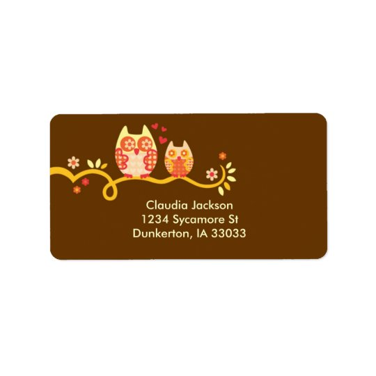 Mum and Baby Owl Custom Label
