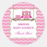 Mum and Baby Owls Girl Baby Shower Sticker