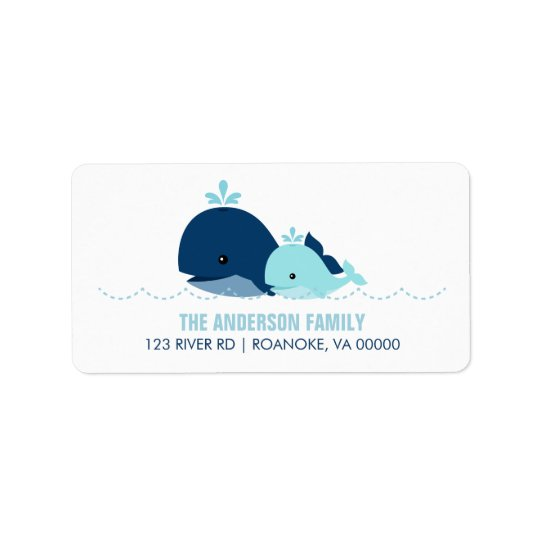 Mum and Baby Whale Baby Shower {blue} Label