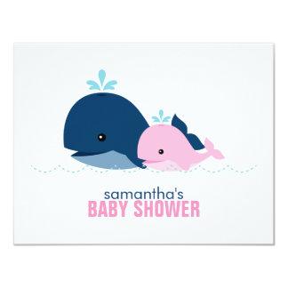 Mum and Baby Whale Mum Advice Cards {pink} 11 Cm X 14 Cm Invitation Card