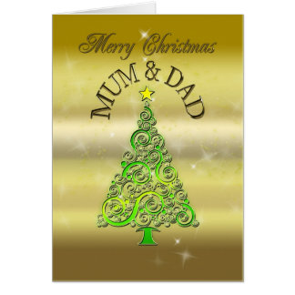 Mum and Dad, a gold effect Christmas card