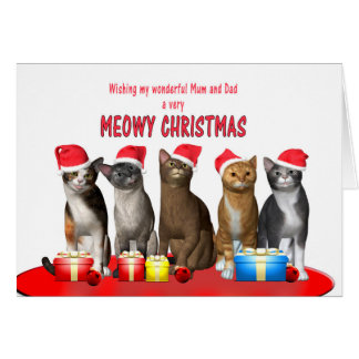 Mum and dad, Cats in Christmas hats Greeting Card