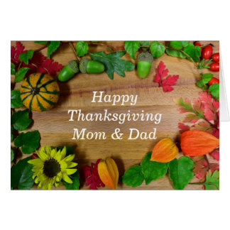 Mum And Dad Thanksgiving Day Card