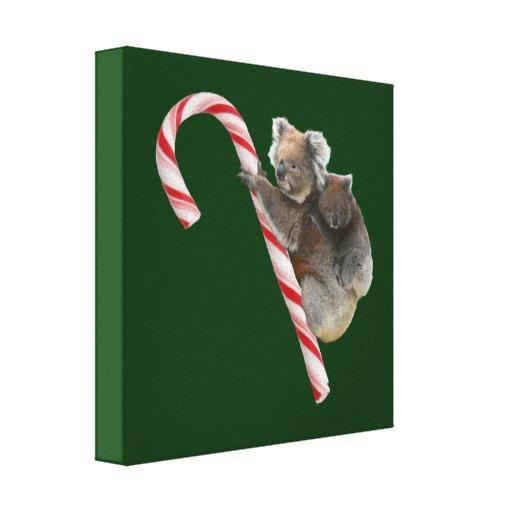 Mum and Joey Koala Candy Cane Christmas Canvas Prints