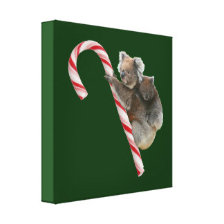 Mum and Joey Koala Candy Cane Christmas Canvas Prints