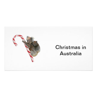 Mum and Joey Koala Candy Cane Christmas Personalized Photo Card