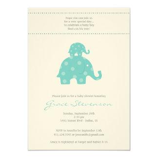 Mum & Baby Elephant Baby Shower Invitation Blue