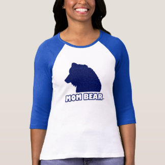 Mum Bear Blue-Patterned Mother's T-Shirt