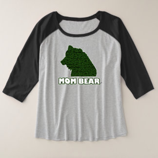 Mum Bear Green-Patterned Mother's T-Shirt