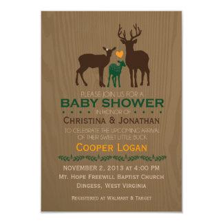 Mum, Dad & Baby Boy Deer - Orange Shower Invite