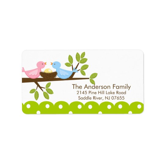 Mum Dad Birds with Baby Bird Nest  Address Label