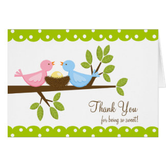 Mum Dad Birds with Nest Thank You Note Card